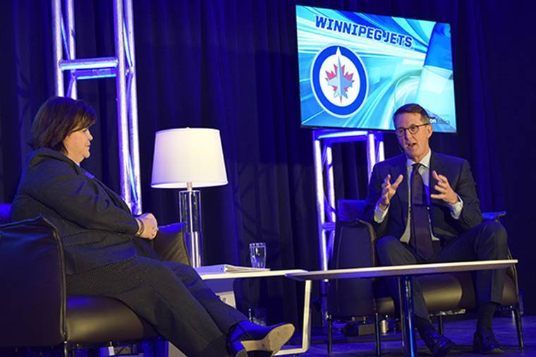 Mark Chipman, UND alum and chairman of True North Sports and Entertainment, which owns the Winnipeg Jets, talked about right and wrong in sports at this year's Olafson Ethics Symposium